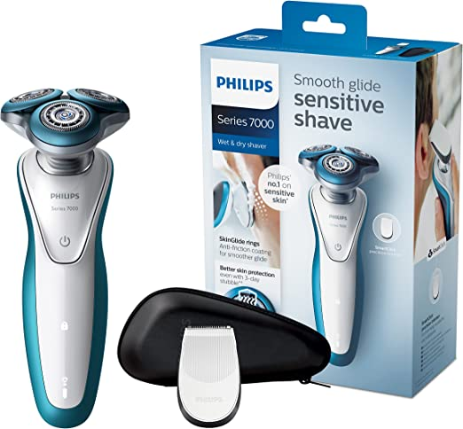 Philips SHAVER Series 7000 S7310 Rotación Recortadora Azul, Color blanco - Afeitadora (Batería/Corriente, Ión de litio, Rotación, Azul, Color blanco, LED, Ergonomic): Amazon.es: Hogar