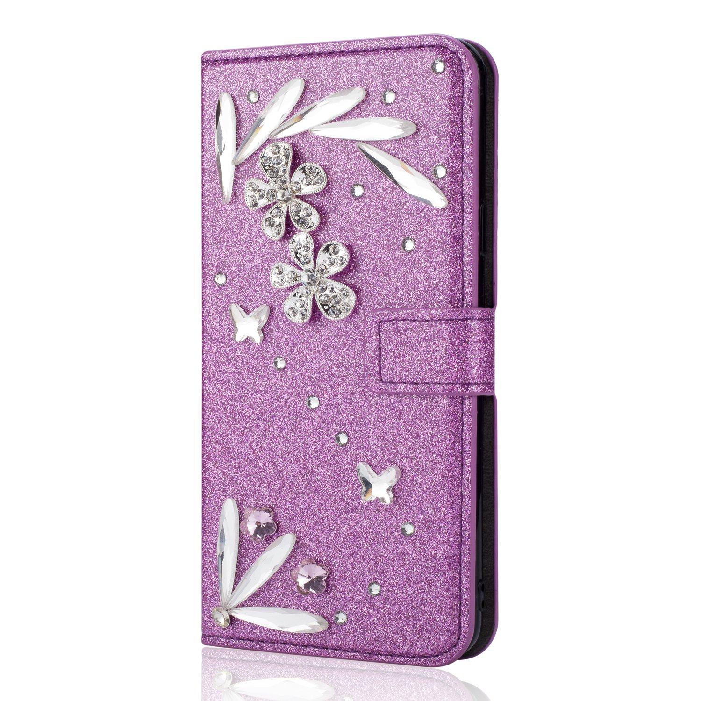 Kucosy Huawei P20 Lite Diamant Hü lle Luxury Bling Glitzer Handyhü lle Sparkle DIY Strass PU Leder Handytasche mit Magnet Kartenfä cher und Standfunktion fü r Huawei P20 Lite - Kamelie Gold