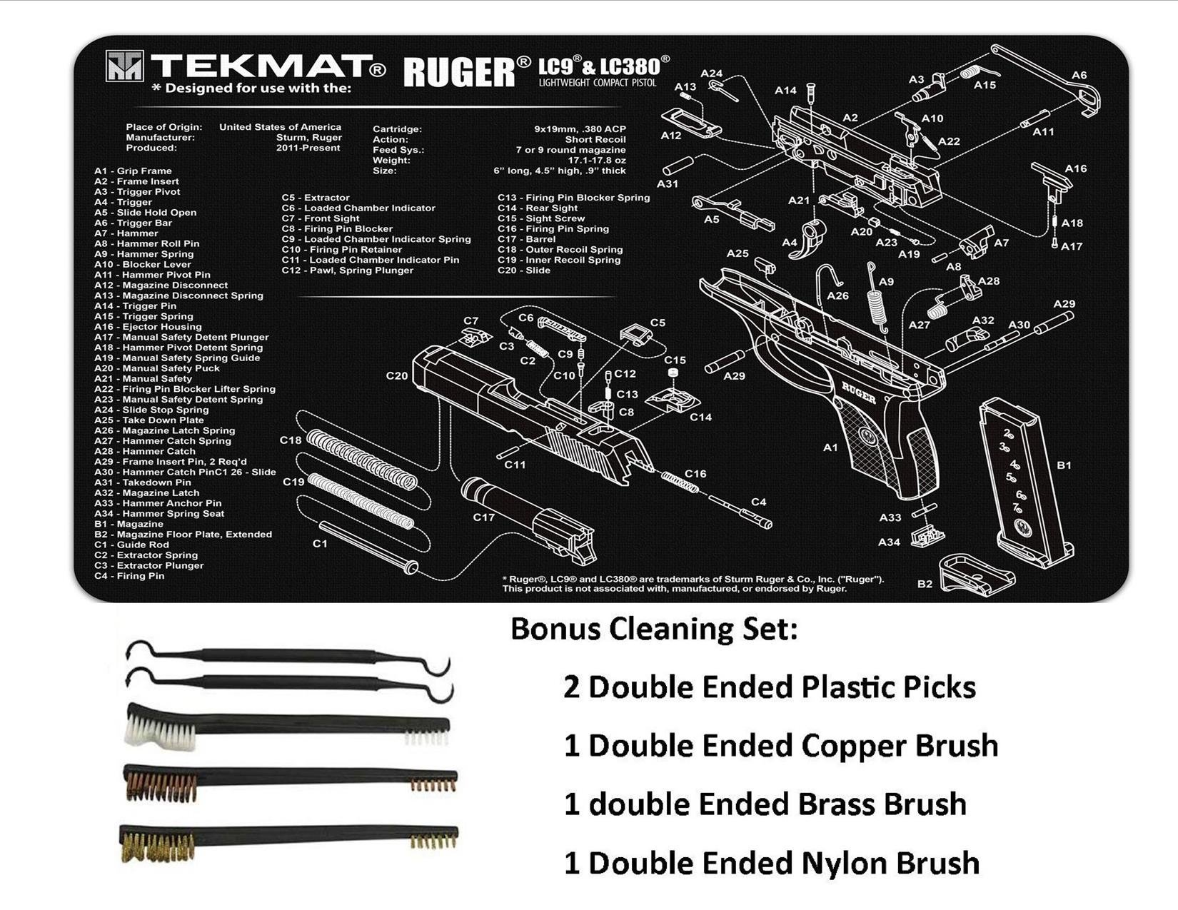 TekMat 11-Inch X 17-Inch Handgun Cleaning Mat with Ruger LC9 Imprint Bonus 5 oc Gun Cleaning Brush & Pick Set by EDOG (Image #3)