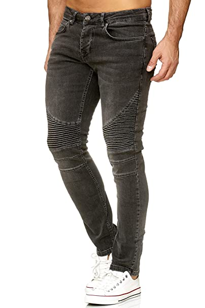 Tazzio Herren Denim Biker-Jeans im Destroyed Look Slim Fit 16517
