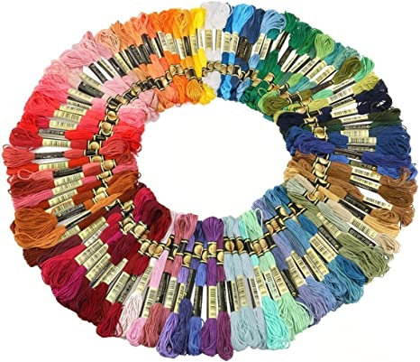 Cleana Arts® 100 madejas de colores punto de cruz de algodón ...