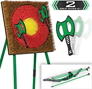 Go! Gater EastPoint Sports Tomahawk Toss & Archery Set; Unique Safety Tomahawks and Arrows, Bristle Target; Two Ways to Play, Green