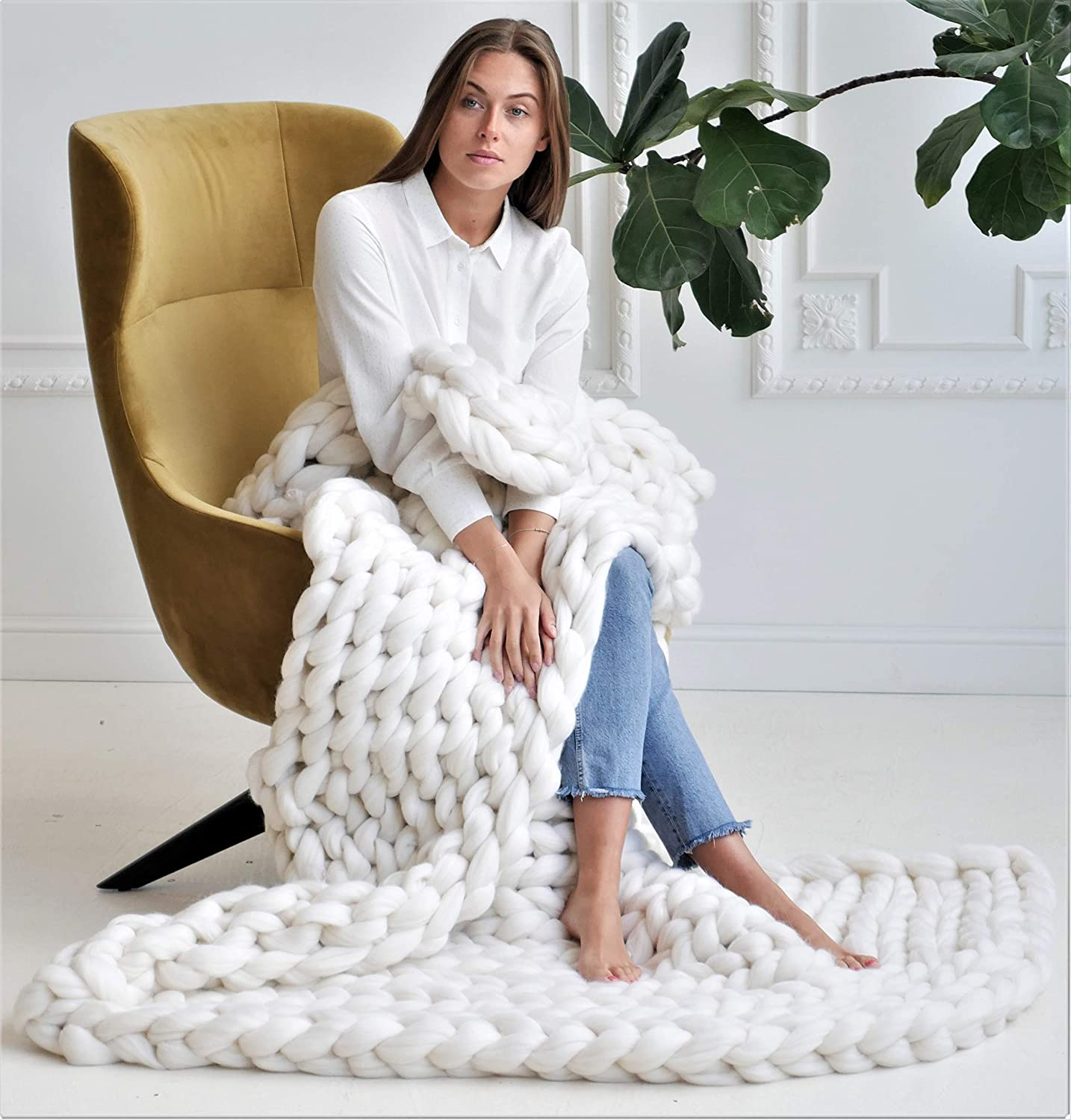 Image of Chunky blanket - Merino blanket - Cheap blanket - Merino throw - Chunky throw - Quilt - Optimal size 40x60' - order from wholesalers - pure merino wool - arm knitting - Giant throw Home and Kitchen
