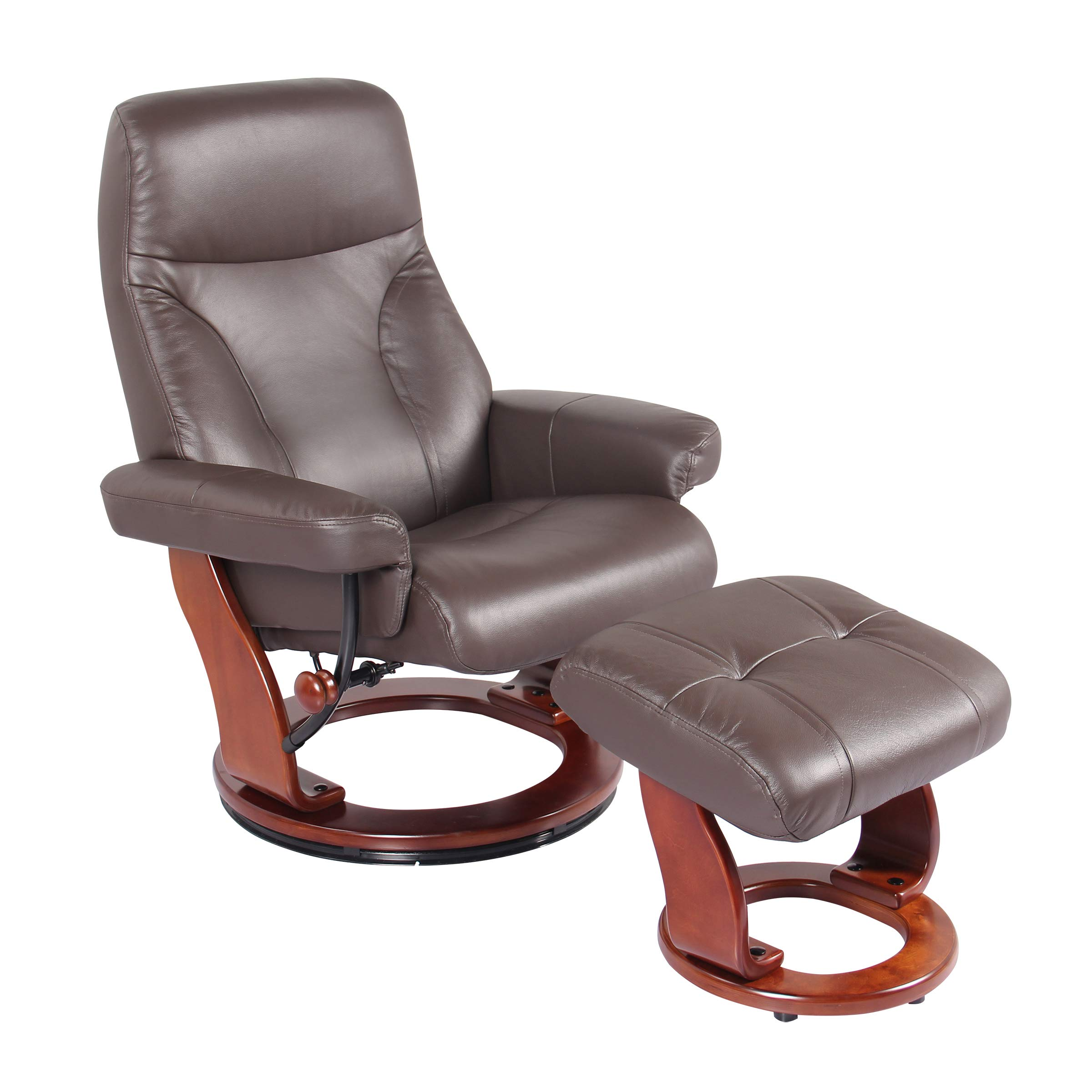 Coja by Sofa4life Leather Recliner and Ottoman Brown by Coja