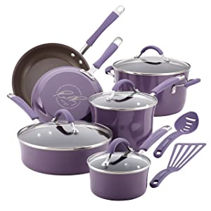 Rachael Ray Cucina Hard Porcelain Enamel Nonstick Cookware Set, 12-Piece, Lavender Purple