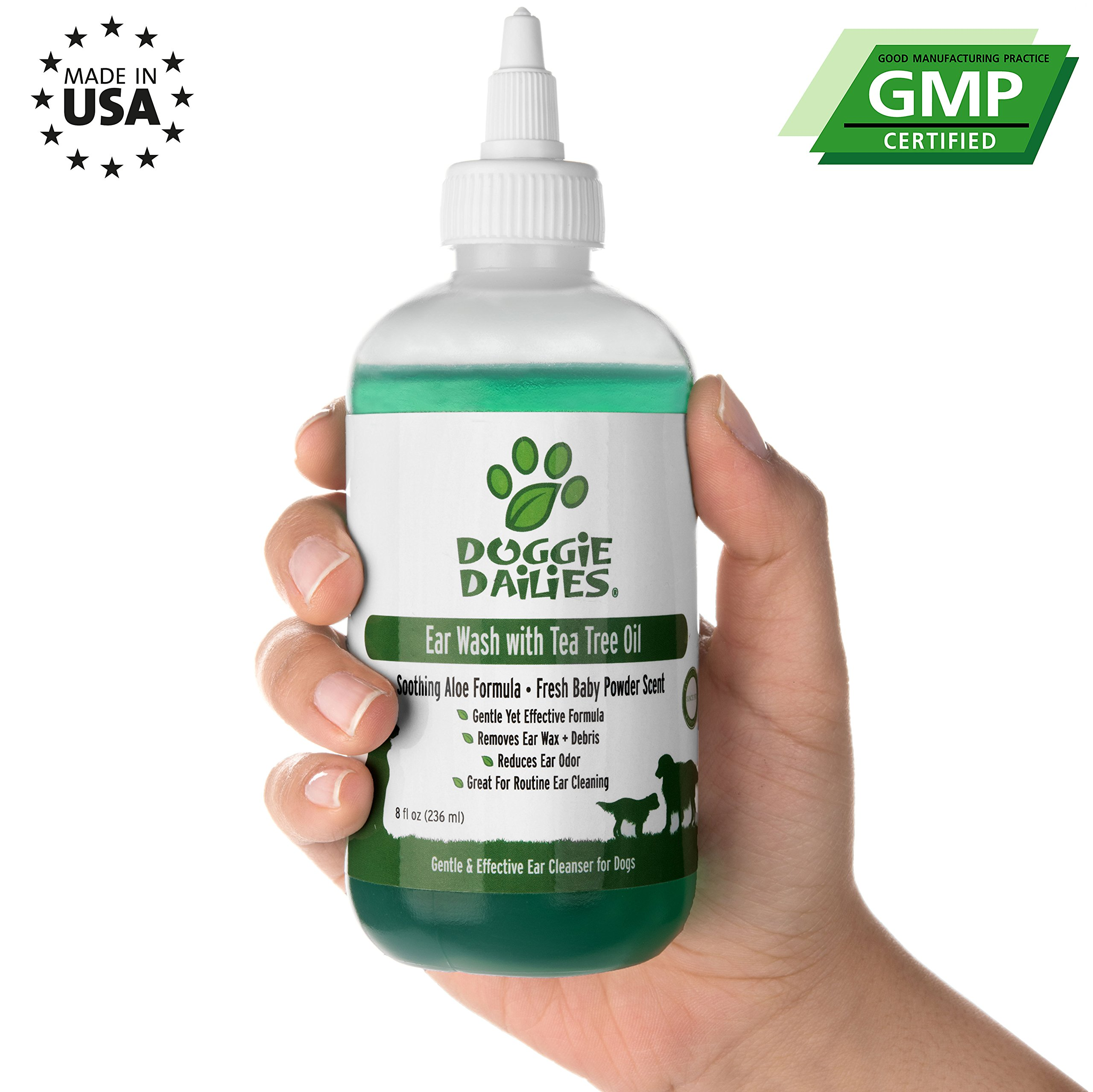 Doggie Dailies Pet Ear Cleaner: Tea Tree Oil, Witch Hazel & Soothing Aloe, Vet Formulated Ear Cleaner for Dogs & Cats, Gently Removes Wax & Debris, Reduces Odor, and Helps Prevent Mites & Infections