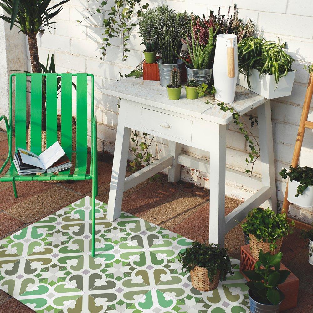 Se nettoie Facilement /à l/'Aide d/'Une serpill/ère Made in Barcelona. MAMUT Big Design Tapis en Vinyle inspir/é du carrelage typique de l/'Art Nouveau de Barcelone Mimosa Water 60x80cm