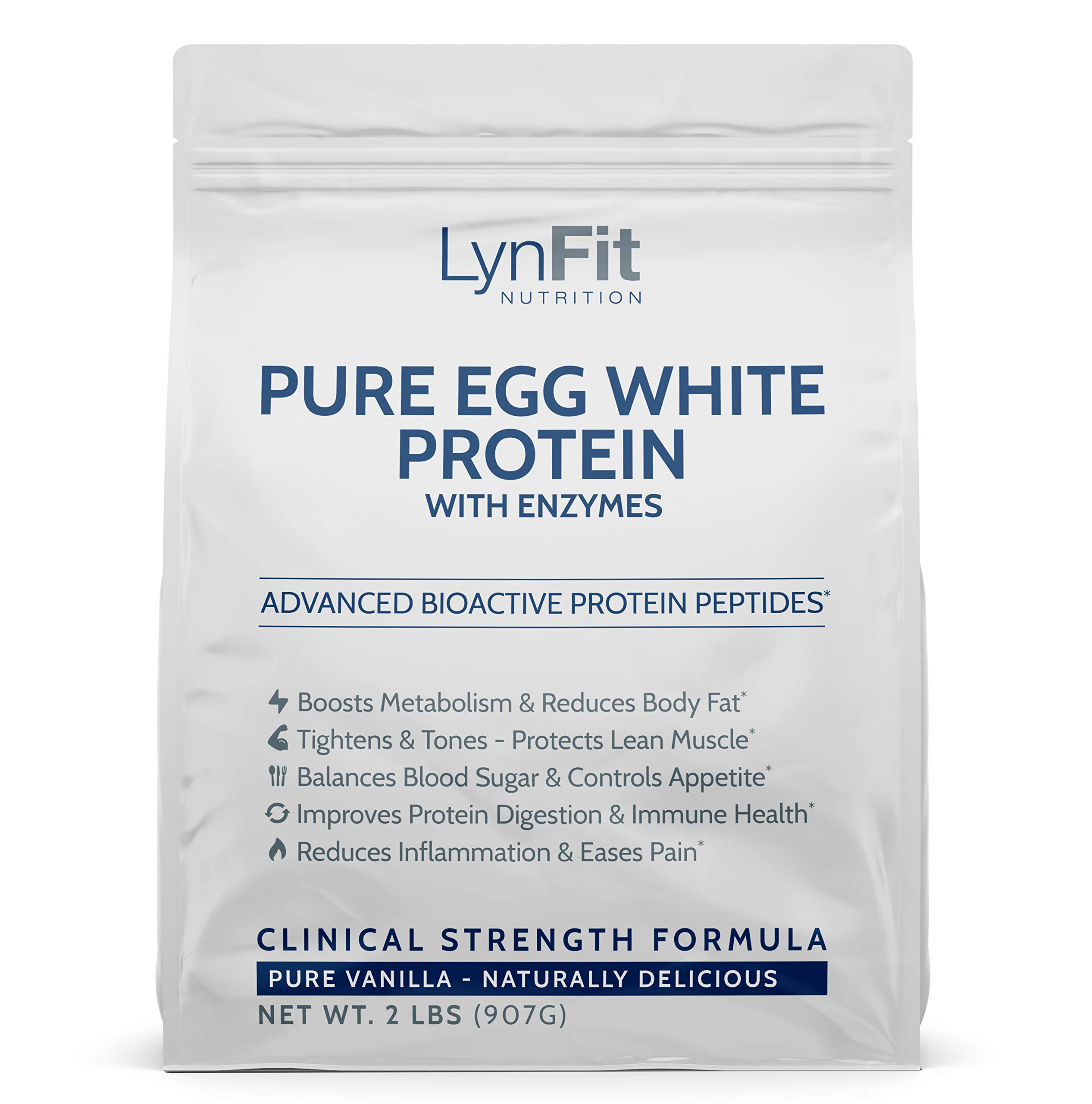 All-Natural, Metabolic Boosting Egg White Protein Powder - Pure Vanilla - 2 Pounds by LynFit Nutrition