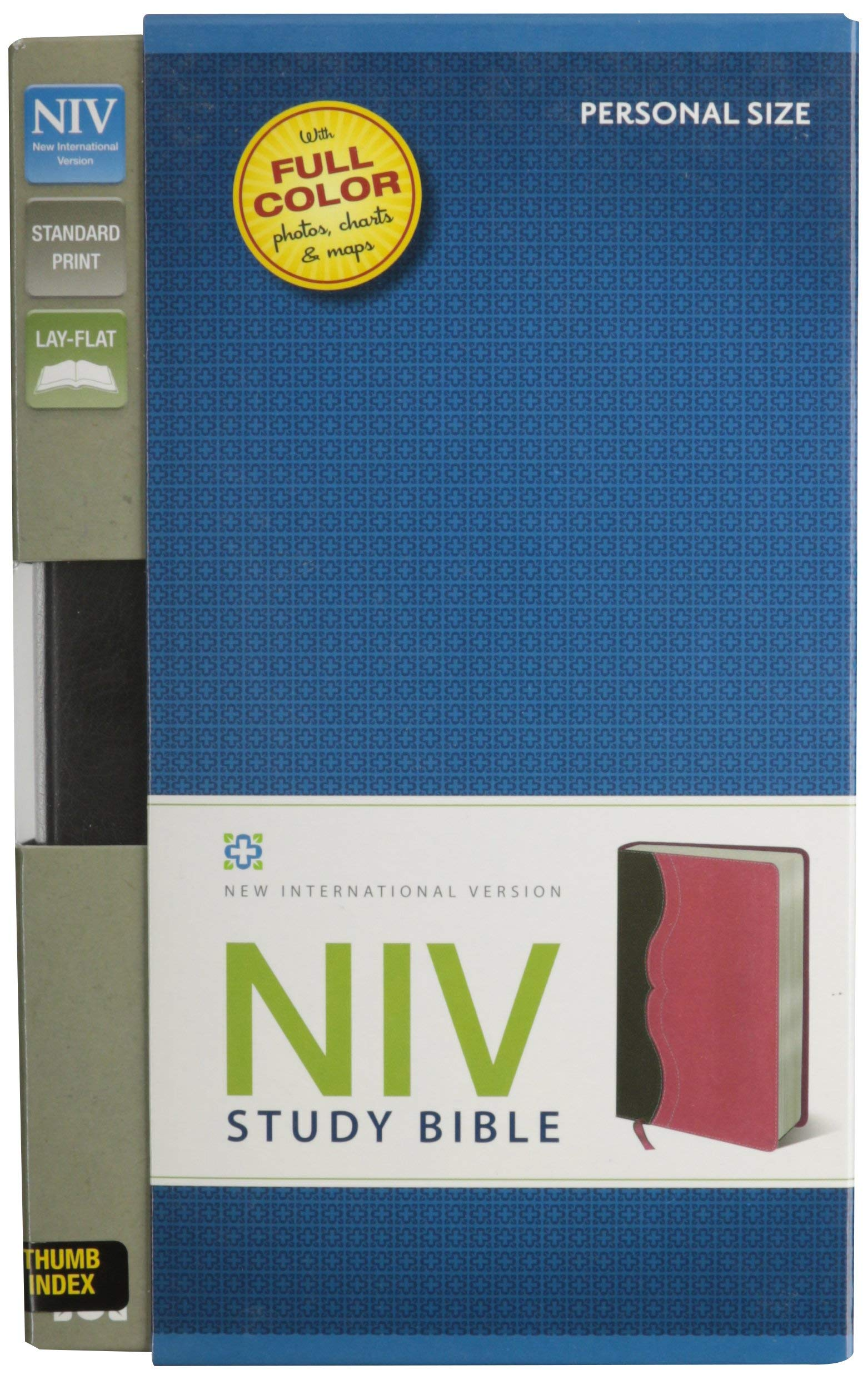 NIV Study Bible, Leathersoft, Gray/Pink, Indexed, Red Letter
