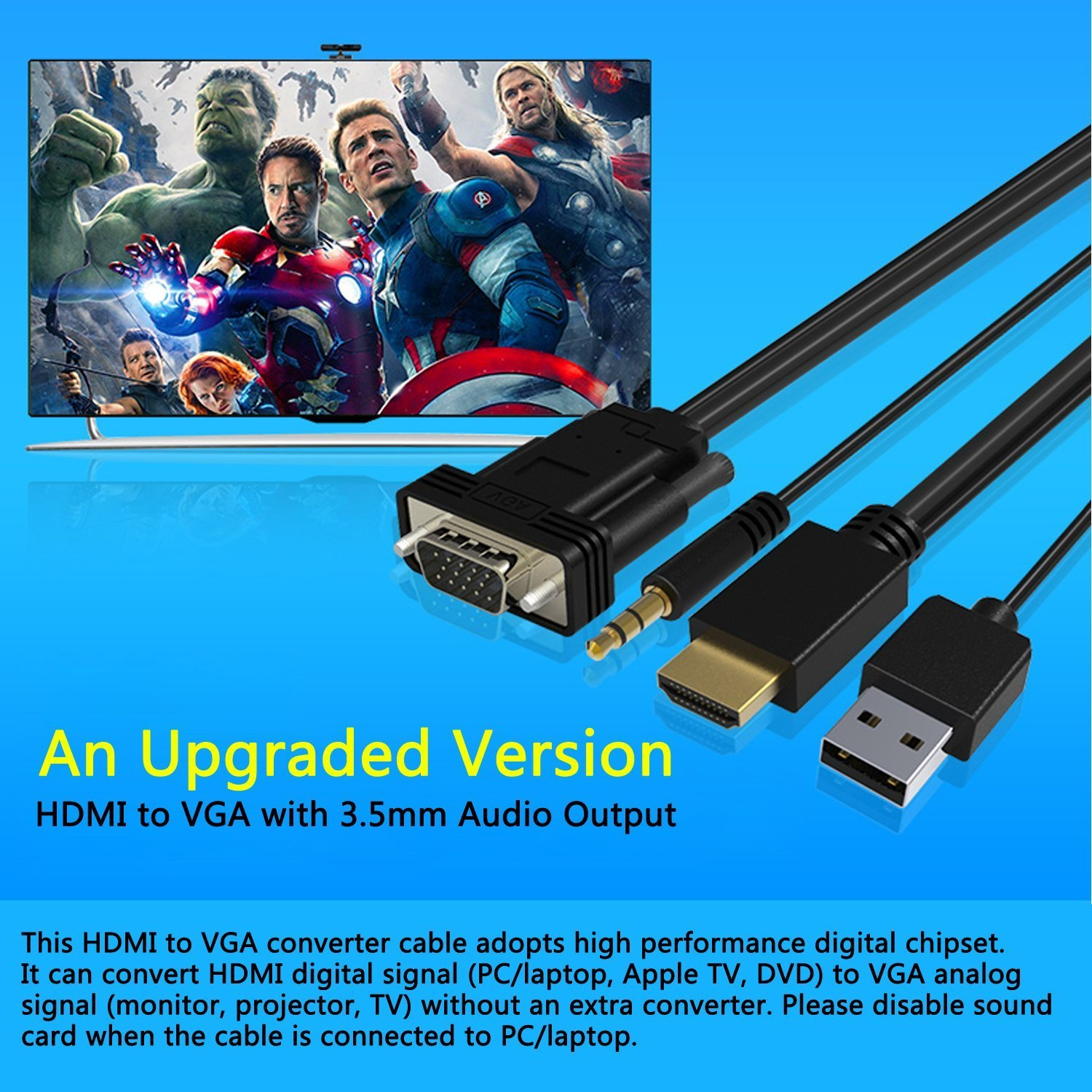 VAlinks Full 1080p HDMI Male to VGA Male D-SUB 15 Pin Converter ...