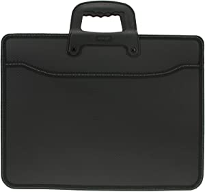 Top Handle Business Briefcase Bag Oxford Fabric Office School Meetting Travel Use File Bills Document Expanding Storage Organizer Holder A4 Size File Folder Carrying Case Handbag (Black HB415)