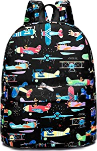 Preschool Backpack for Kids Boys Toddler Backpack Kindergarten School Bookbags (Plane-Black)