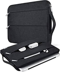 "V Voova 11 11.6 12 Inch Laptop Sleeve Bag with Pockets Water Resistant Computer Case Compatible for MacBook Air 11"" New MacBook 12"",Asus,HP,Samsung,Dell,Ipad Pro 11 Chromebook Shockproof Cover,Black"