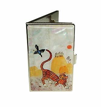 Porte Cartes De Visite Original Decore Nacre Naturelle Avec Un Chat Qui Fume