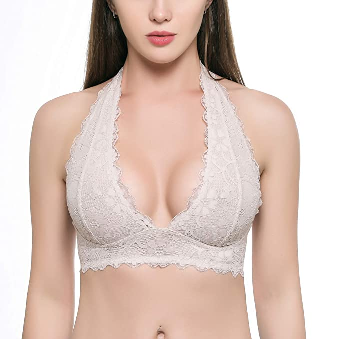 be8fc606dc2bb Women s Halter Lace Bralette Top Unpadded Clasp Back Wirefree Lace Bra (for  A-D Cups)
