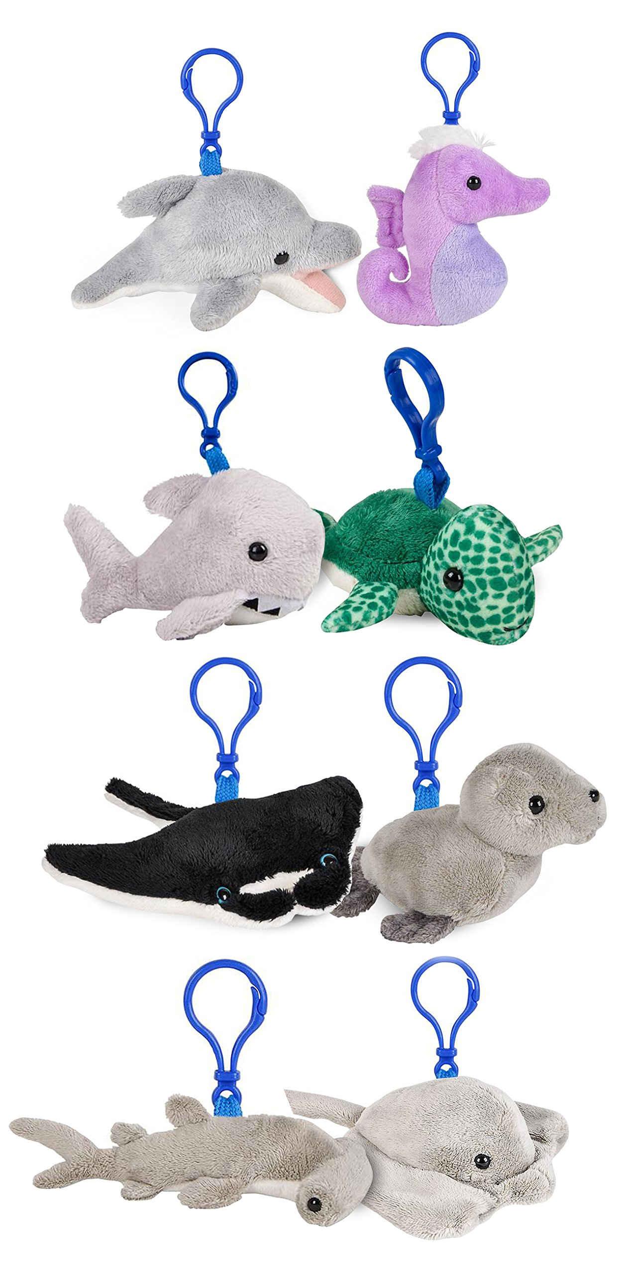 Wildlife Tree 3.5'' Mini Small Stuffed Animals Keychain Backpack Clip Bundle Ocean Animal Toys or Under The Sea Party Favors for Kids by Wildlife Tree