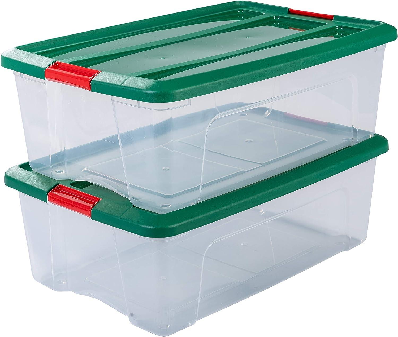 Iris Ohyama NTB-30 - lote de 2 cajas apilables de almacenamiento, Transparente/verde/rojo, 30 L: Amazon.es: Hogar