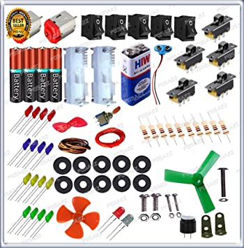 GKA2Z 80 Items in 1 Kit – Loose Electronic Components for Science Fun Experiments with Instruction Manual
