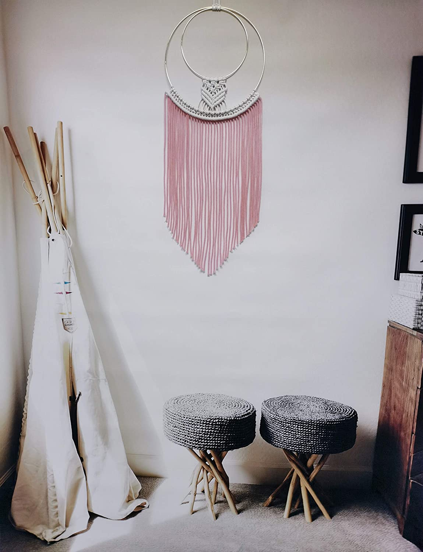 Amazon Com Boho Decor Macrame Wall Hanging Coolqiya Pink Dream Catcher Woven Boho Bedroom Decor Wall Pediments Home Decoration Everything Else