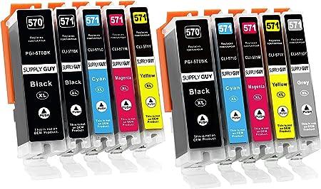 Imagen de10 Cartuchos de Tinta con viruta Compatible con Canon PGI-570 / CLI-571 para Pixma MG-7700 MG-7750 MG-7751 MG-7752 MG-7753 TS-8000 TS-8050 TS-8051 TS-8052 TS-8053 TS-9000 TS-9050 TS-9055