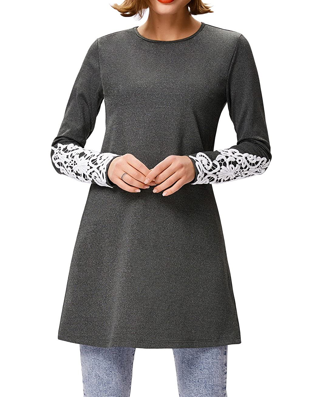 Kate Kasin Womens Long Sleeve Lace Casual Loose A Line Tunic T