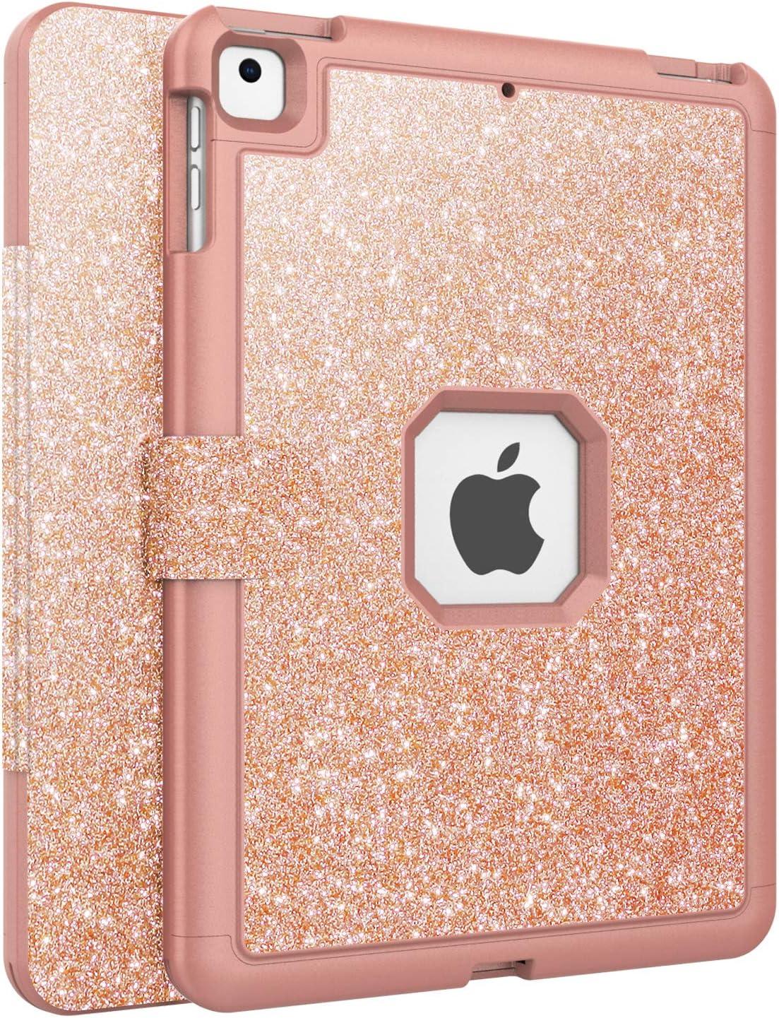 Carcasa Purpurina Cuero Sint/ético Magnetica con Funci/ón de Soporte Auto-Sue/ño//Estela para iPad Air//Air 2 //Pro 9,7 Pulgadas FAN SONG Funda para iPad 2018//2017 9.7 Oro Rosa