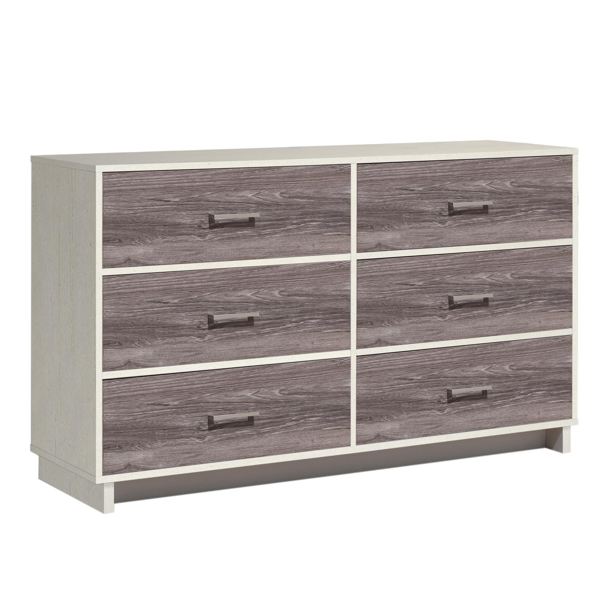 Ameriwood Home Colebrook 6 Drawer Dresser, Vintage White/Rustic