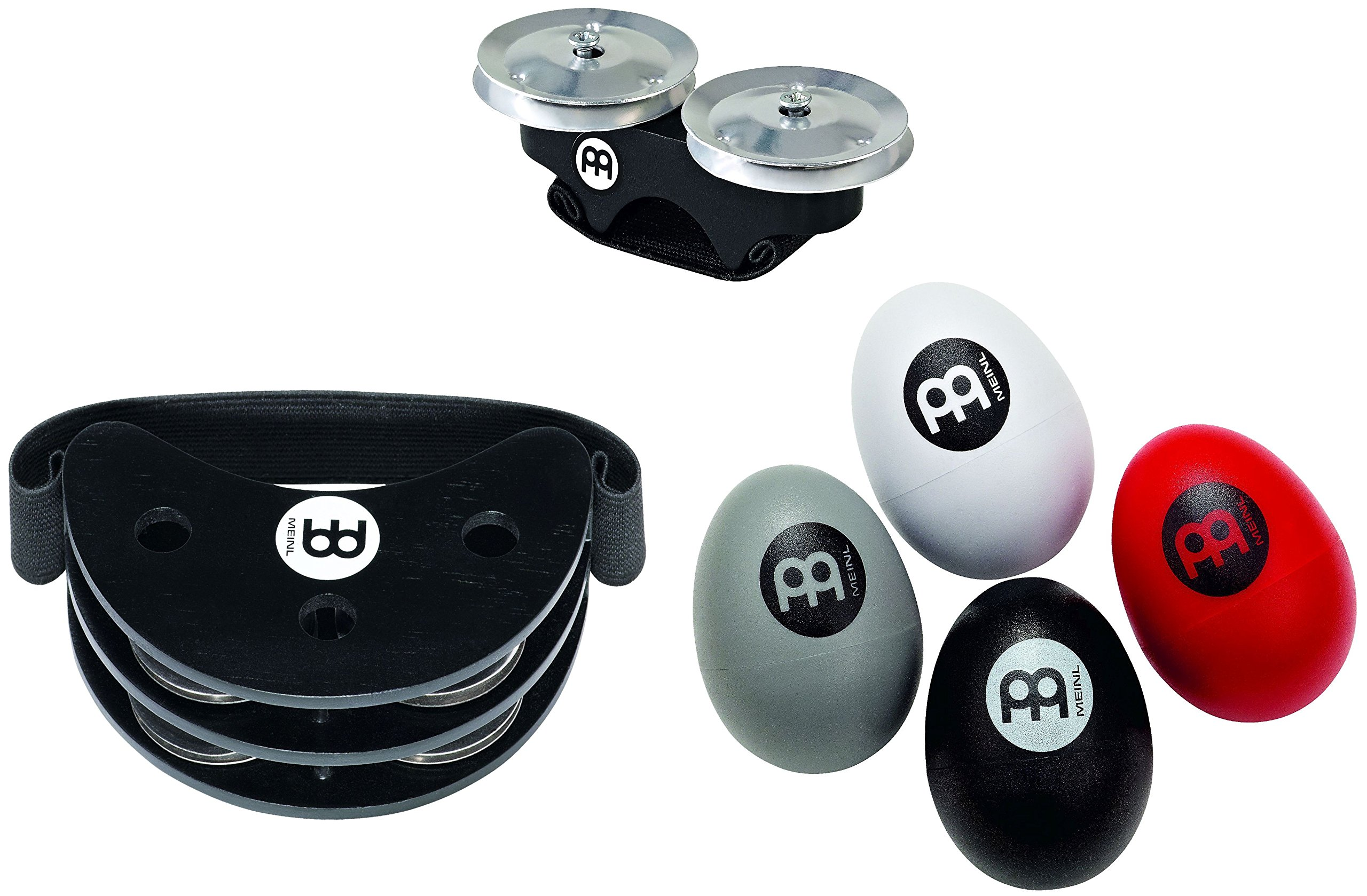 Meinl Percussion PP-3 Cajon Accessory Pack with Foot Tambourine, 4-Piece Egg Shaker Set with Different Volumes, and FREE Finger Jingles