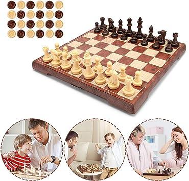 MUSCCCM Juego de Ajedrez, Tablero de ajedrez 2 en 1 Magnético de Viaje con Portátil de Tablero Plegable para Niños y Adultos(32*32cm): Amazon.es: Juguetes y juegos
