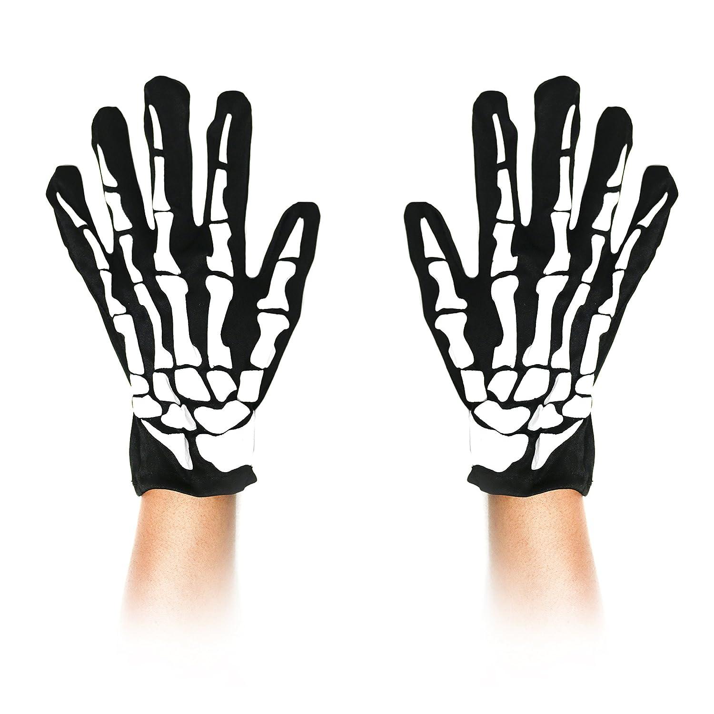 Unisex Adult Halloween Skeleton Bone Polyester Gloves Robelli