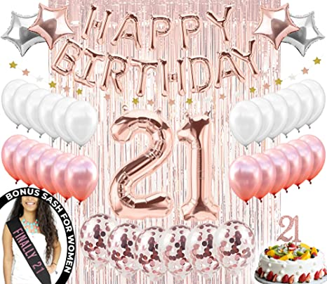 21st Birthday Decorations Finally 21 Party Supplies Cake Topper Rose Gold Banner Confetti