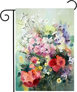 Pickako Watercolor Painting of Beautiful Summer Spring Floral Flowers Poppy Daisy Garden Yard Flag 12 x 18 Inch, Double Sided Outdoor Decorative Welcome Flags Banners for Home House Lawn Patio