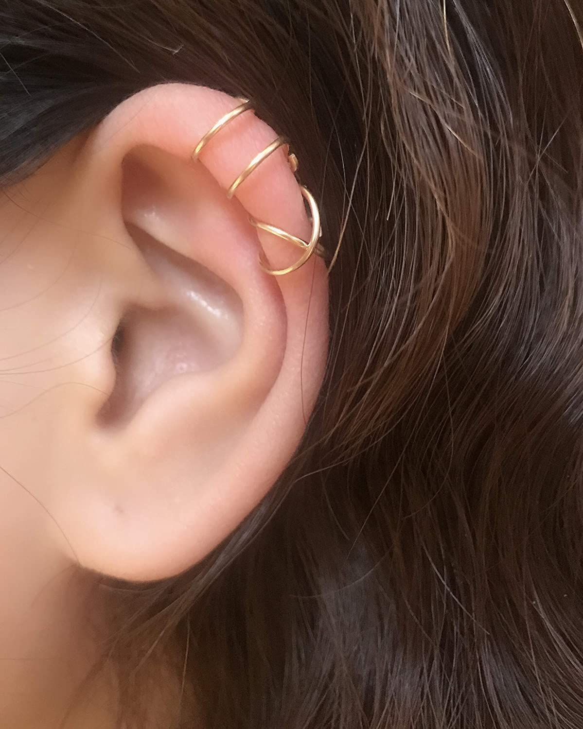 Peony.T 14k Gold Filled 2PCS Simple Line Ear Cuff Non Piercing Clip on Cartilage Earrings for Men Women Silver/Gold/Rose Color Double&Criss Cross Ear Cuffs