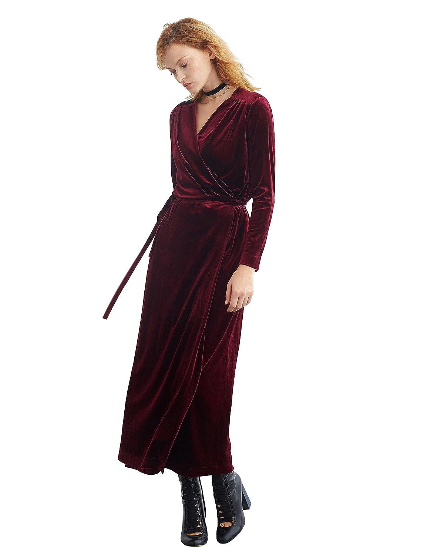 e1ee6f19cbfd Amazon.com: Simple Retro Women's Velvet Wrap Dress Long Sleeve V-Neck  Belted Maxi Formal Dress: Clothing