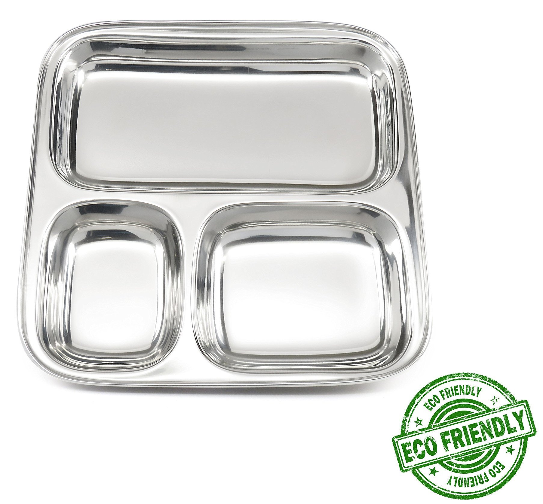 Lifestyle Block Stainless Steel Plastic-Free 3 Compartment Stainless Steel Kid's Plate – Small Divided Kid Plate by Lifestyle Block