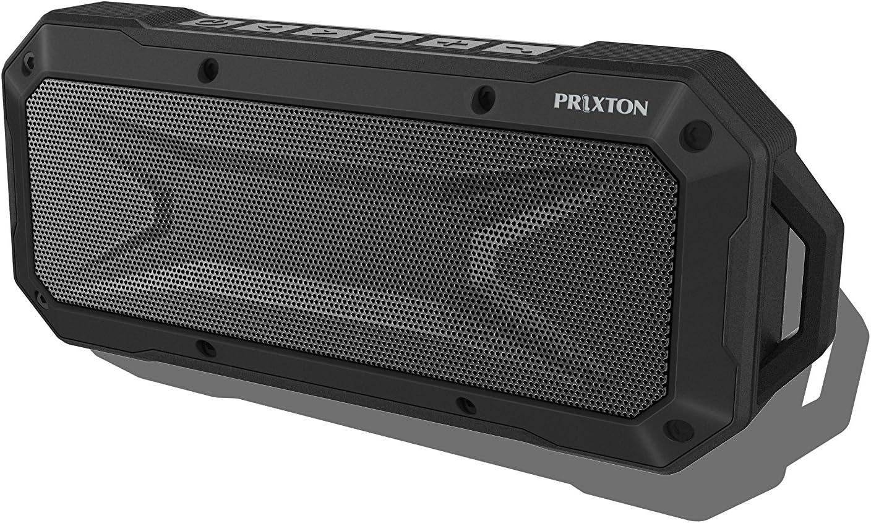 PRIXTON - Altavoz Portátil Sumergible con Bluetooth, Ranura USB y Micrófono y Función Manos Libres, Color Negro
