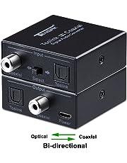Optical to Coax, Tendak Optical SPDIF Toslink to Coaxial and Coaxial to Optical SPDIF Toslink Bi-Directional Swtich Digital Audio Converter Splitter Adapter
