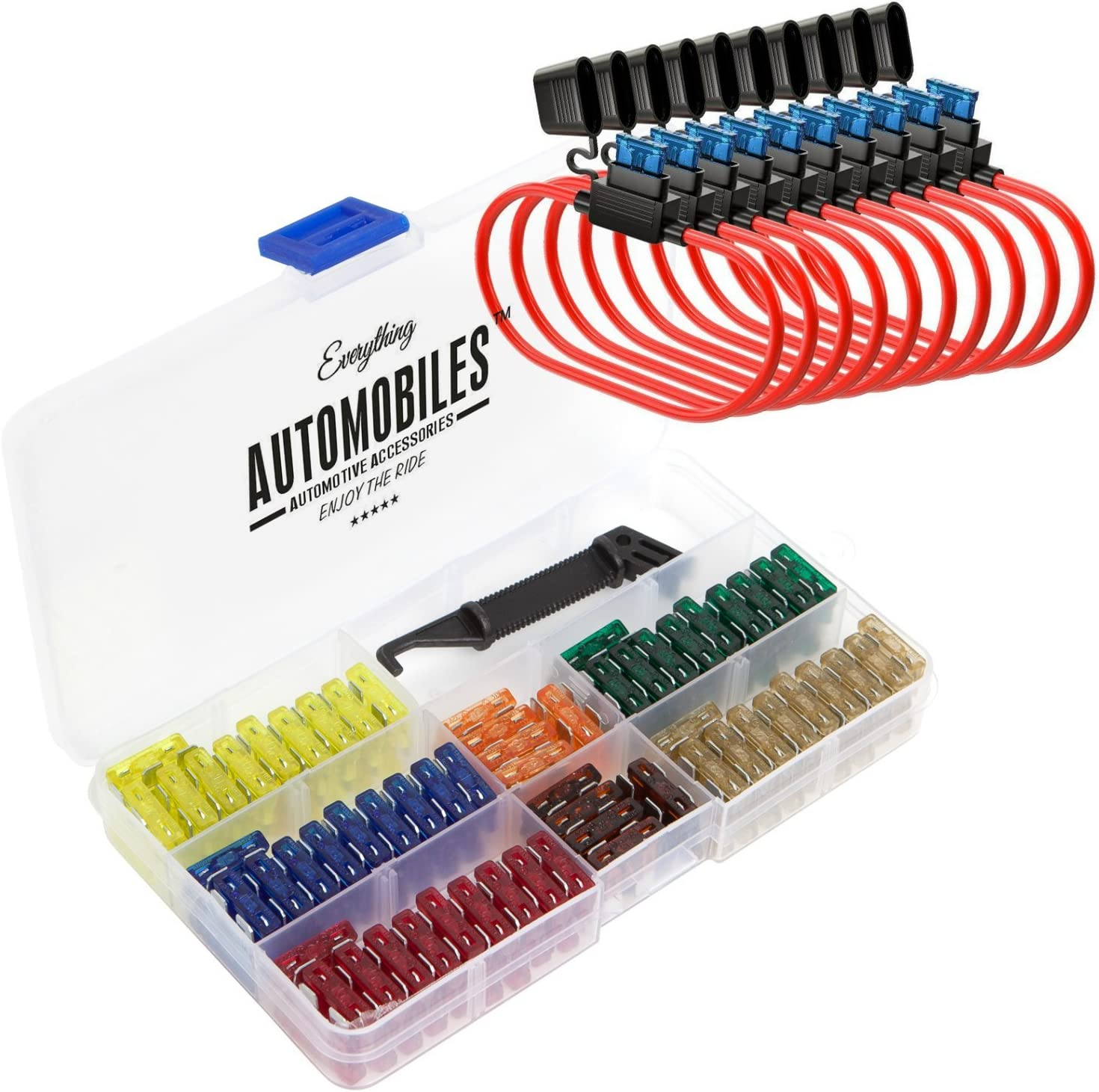 Everything Automobiles, 120 Assorted Fuses with 10 Inline Fuse Holders - Includes Fuse Puller Tool, Great for Use on Cars: Automotive