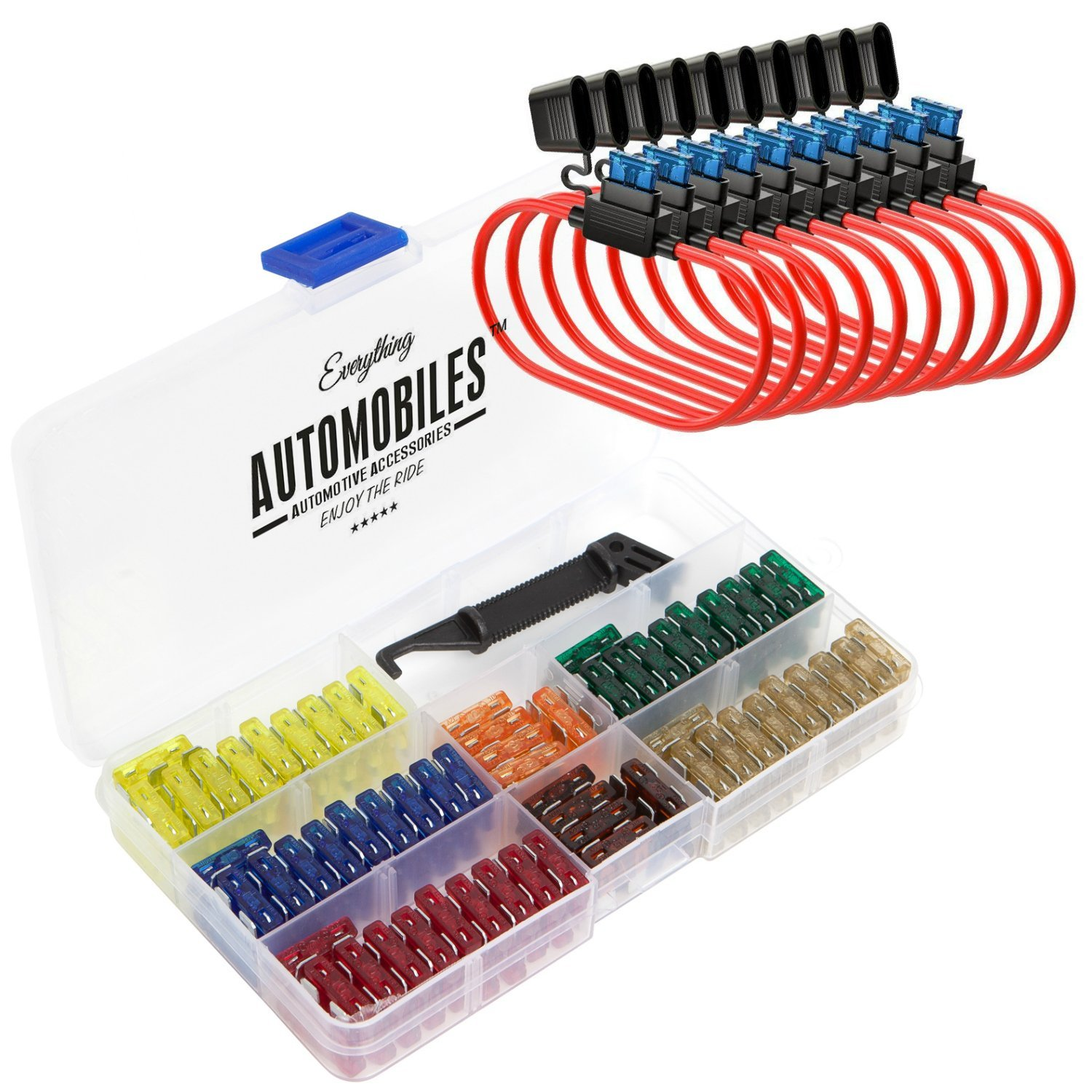 amazon com: everything automobiles, 120 assorted fuses with 10 inline fuse  holders -