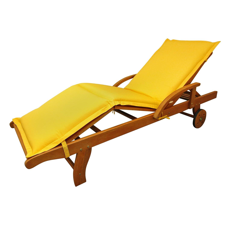 IND-70445-AUSL Liegenauflage Premium, extra dicke Polsterauflage für Gartenliege mit Reißverschluss, 195 x 62 x 9 cm, Gelb
