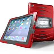 UZBL Heavy Duty [ShockWave Series] Full-body Rugged Protective Case with Built-in Screen Protector and Removable Stand Compatible with Apple iPad 9.7 inch 2017/2018 (5th / 6th Generation), Red