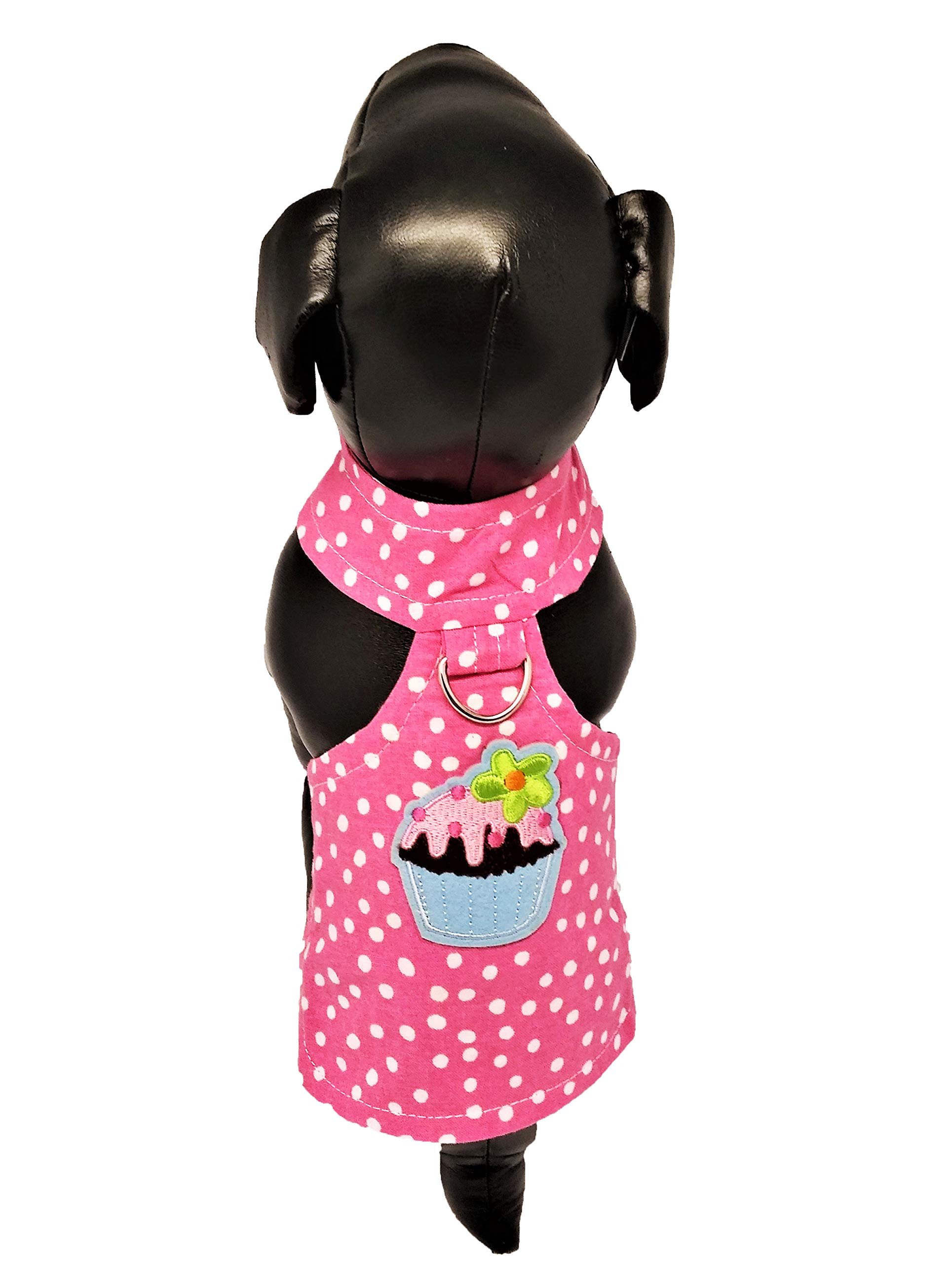 Kuky Chic, Beautiful Dress Decorated with Small Circles White, in Pink Color, Cotton Fabric,with a Strong Harness for Your Safety Design has Designed with Beautiful Cupcakes Application Size L.