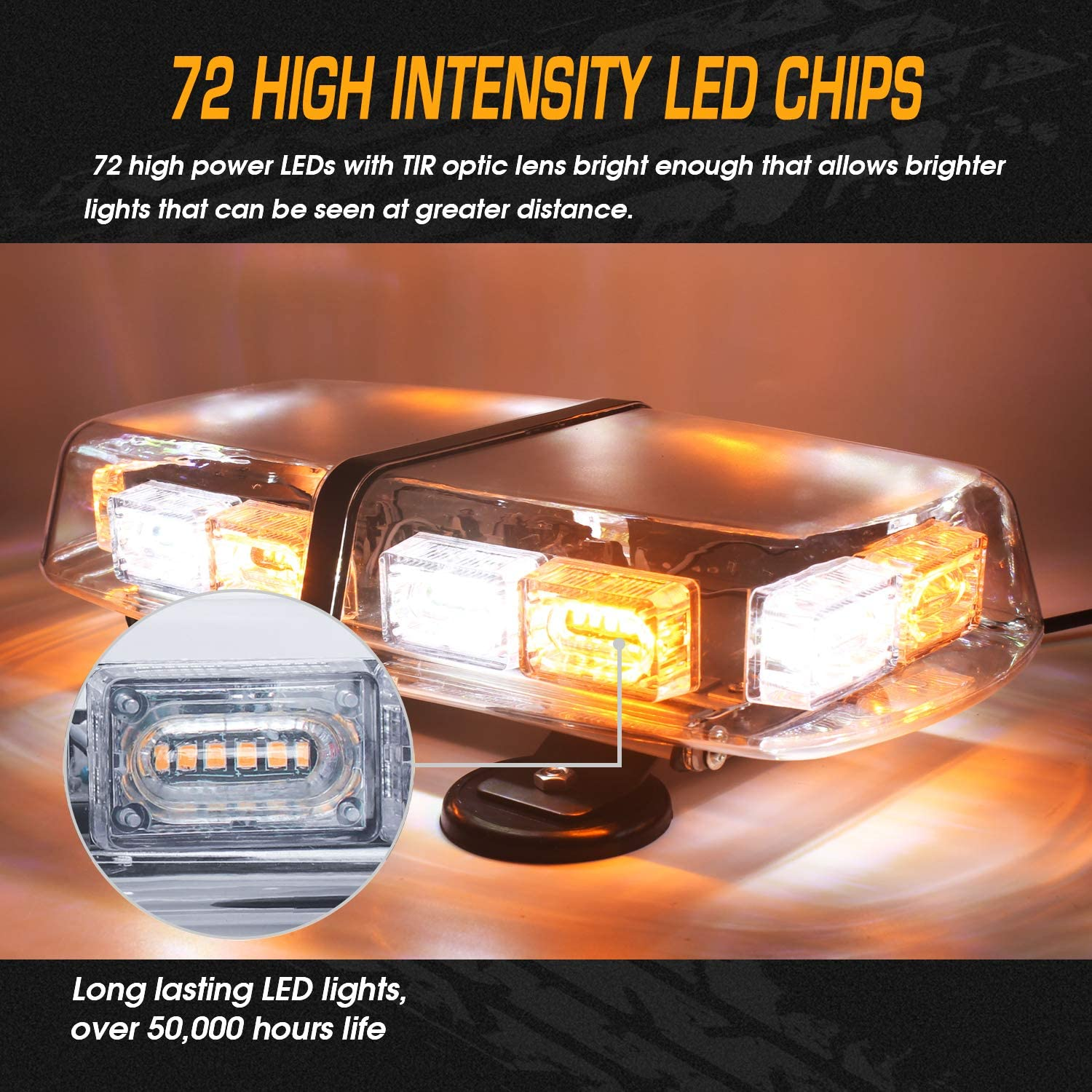 Amber Linkitom LED Strobe Flashing Light 72 LED High Intensity Emergency Hazard Warning Lighting with 4 Heavy Duty Strong Magnets and 16 ft Straight Cord for Truck Vehicle Roof Safety