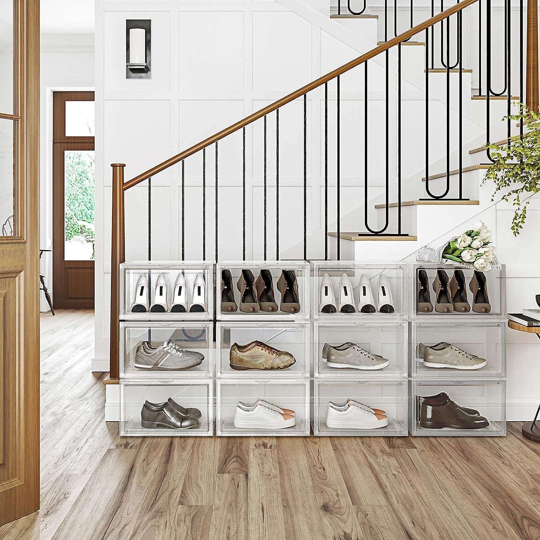 Talla 46 SONGMICS Cajas de Zapatos Negro LSP06CB Organizadores de Zapatos Apilables con Puerta Transparente Paquete de 6 36 x 28 x 22 cm Zapater/ía de Pl/ástico