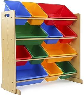 Tot Tutors Kidsu0027 Toy Storage Organizer With 12 Plastic Bins,  Natural/Primary (