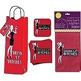 Funny Wine Designed Gift Set - Set of 4 Assorted Coasters - Gift Bag - Napkins - Towel