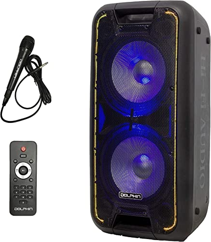 Dolphin SP-210RBT Portable Bluetooth Party Speaker on Wheels with Lights, 10 PartyBox