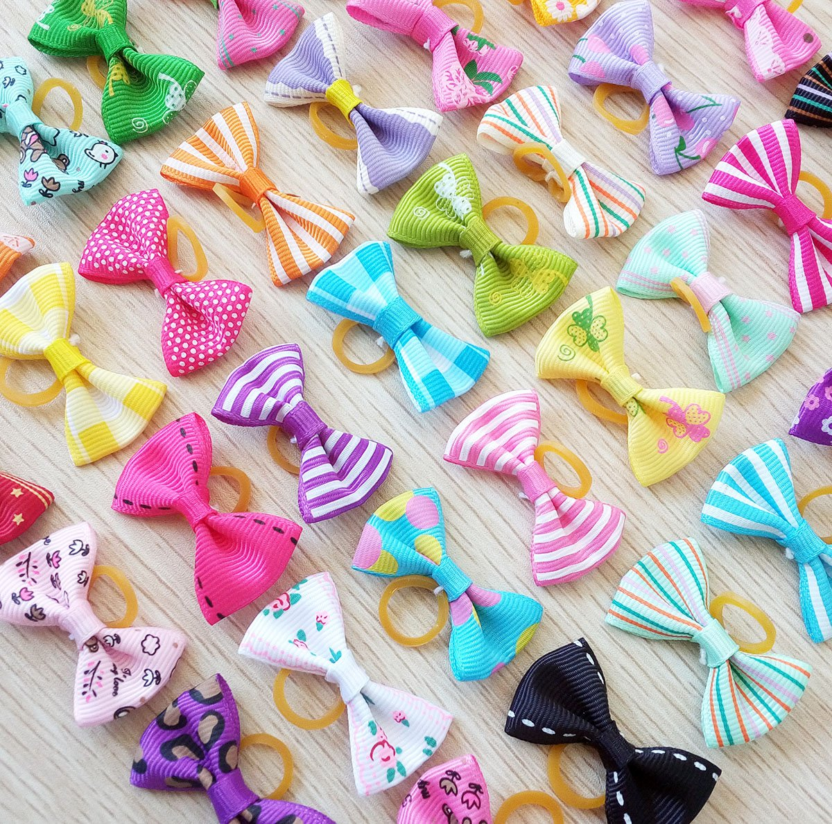 PET SHOW Pet Dog Hair Bows Bowknot for Yorkshire Girls Topknot with Rubber Bands Cat Puppy Headdress Grooming Hair Accessories Random color Pack of 50pcs = 25pairs by PET SHOW (Image #3)