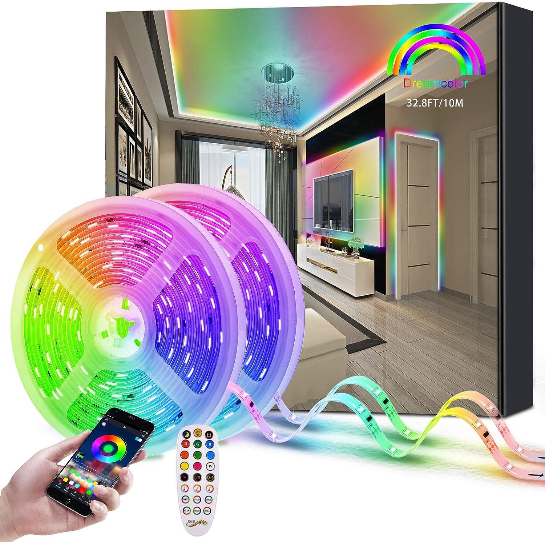 Fortand Luces LED 10M (2x5m) Tiras LED, Dreamcolor RGBIC 5050 Bluetooth Control APP, 12V Impermeable Tira de luz LED con Control Remoto y Caja de Control para la Habitación, Techo