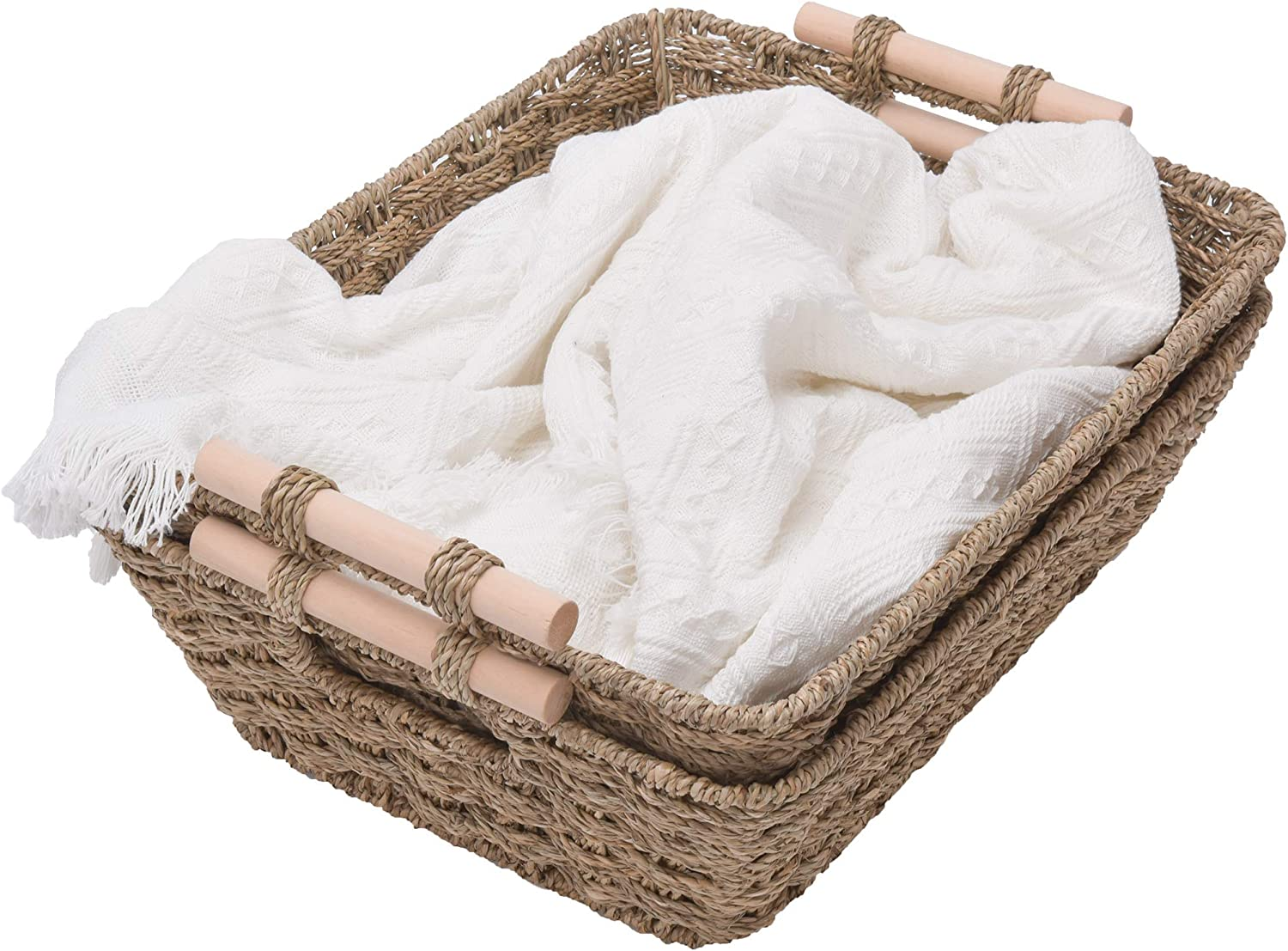 GRANNY SAYS Hand-Woven Jumbo Storage Baskets with Wooden Handles, Seagrass Wicker Baskets for Organizing, Trapezoid Decorative Baskets, 16.9
